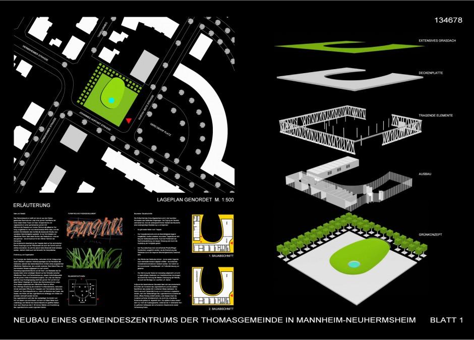 Gemeindezentrum Thomasgemeinde | netzwerkarchitekten, Darmstadt | Mannheim-Neuhermsheim | Evangelische Kirche in Mannheim | Wettbewerbe, Hochbau | Dr. Kreutz+Partner - Beratende Ingenieure